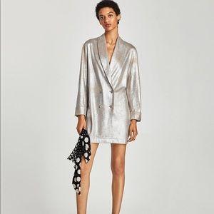 Zara Metallic Tuxedo Blazer Size XS